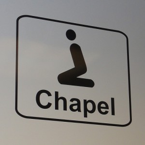 "Photo of a sign reading ""Chapel"""