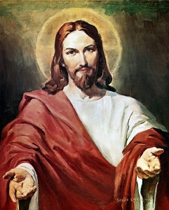 Stereotypical drawing of Jesus