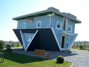 Image of a house flipped upside-down