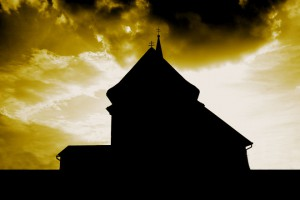 Artistic photo of a chapel silhouette