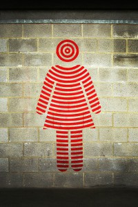 Photo of a female icon in a bullseye style