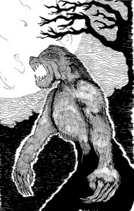 Hand-drawn picture of a werewolf under a full moon