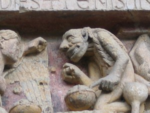 Photo of a demon portrayed in an architectural sculpture