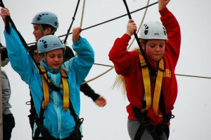 Photo of preteens on ropes course