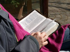 Photo of someone reading a Bible