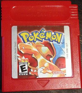 Photo of a Pokemon game cartridge - Pokemon Red, one of the original Pokemon games