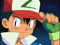Still of Ash, the main character in the Pokemon TV series, gripping his hat